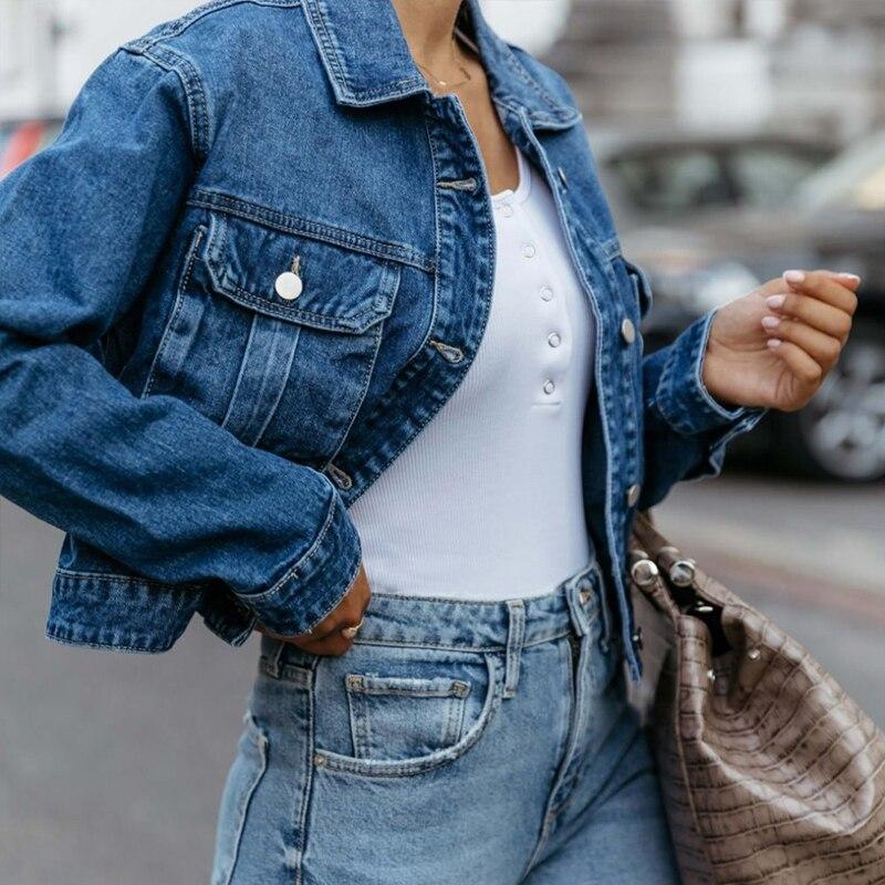 Women Autumn Cool Blue Short Denim Coats Jacket Boyfriend Casual Loose Overcoats Streetwear Winter Long Sleeve Pocket Jean Coat