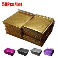 Sacos de envelopes bolhas 50 pçs/lote, diferentes especificações douradas envelopes bolha de papel envelopes envio acolchoado