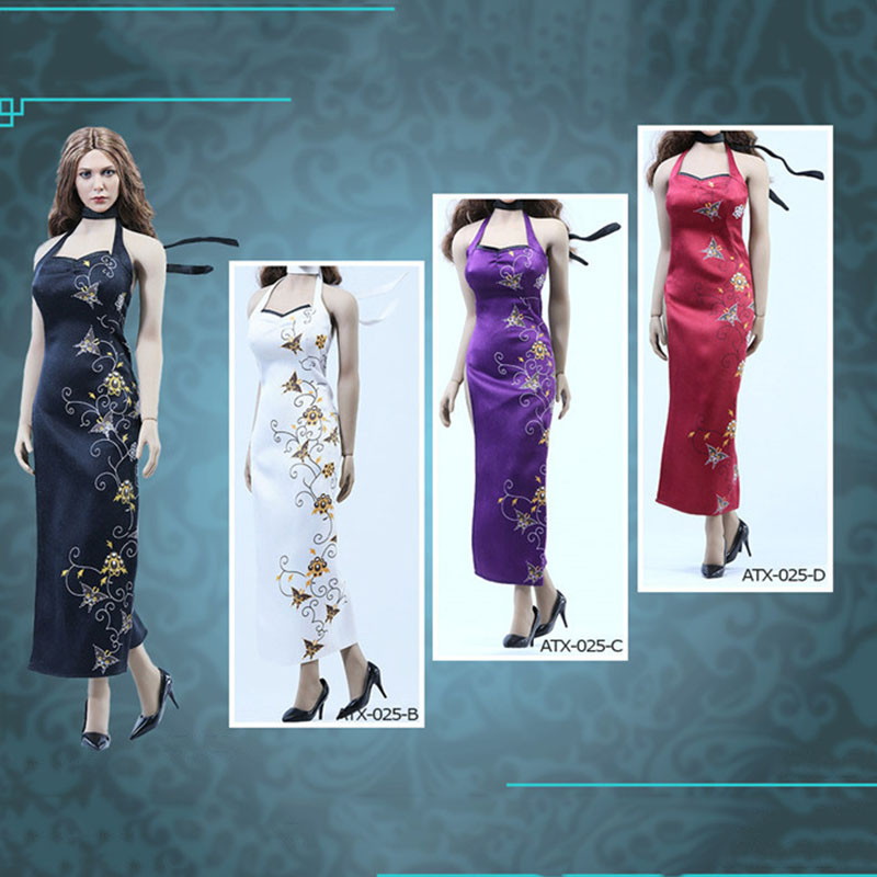 Black 1//6 Scale Toy Lace Cheongsam Open Dress