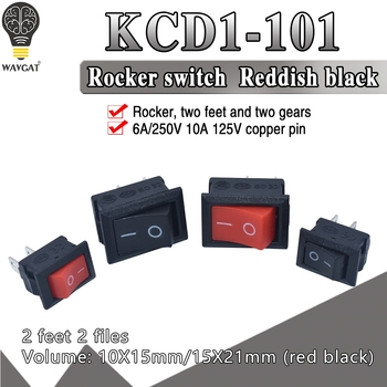 5pcs KCD1 Rocker Switch Push Button Mini 6A-10A 250V KCD1-101 2Pin Snap-in On/Off 10*15 21*15MM Black Red White - discount item  7% OFF Active Components