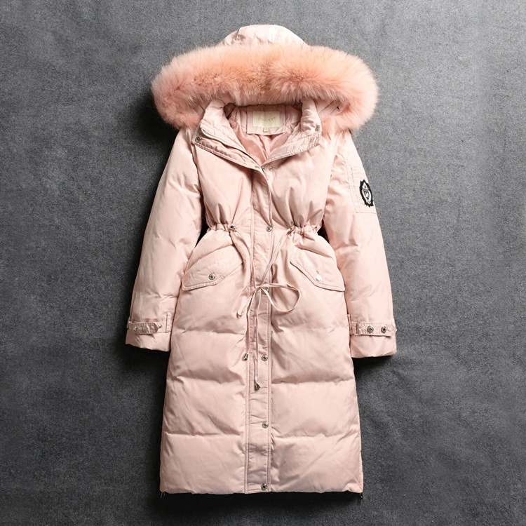 Winter Down Jacket Woman Hooded Slim Long Down Coats Female White Duck Down Parka Real Large Fur Ladies Clothes SQ-1518