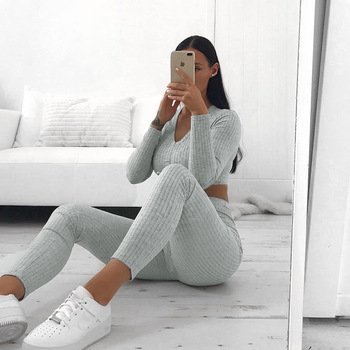 Knit Rib Grey Tracksuit Drawstring V Neck Long Sleeve Sexy Crop Tops and Leggings Solid Elastic Fashion Streetwear Two Piece Set image