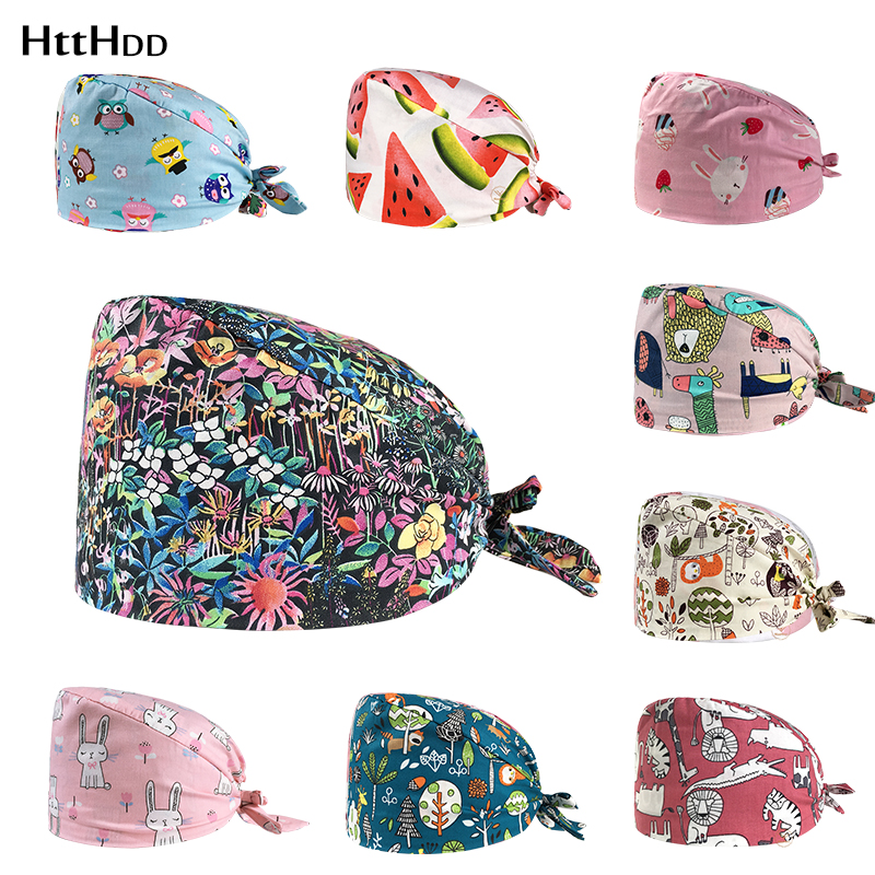 Flowers Printed Surgical Cap Pharmacy Lab Doctor Nurse Hat Scrub Surgical Hats Doctor Hat Nurse Accessories With Sweatband Cap