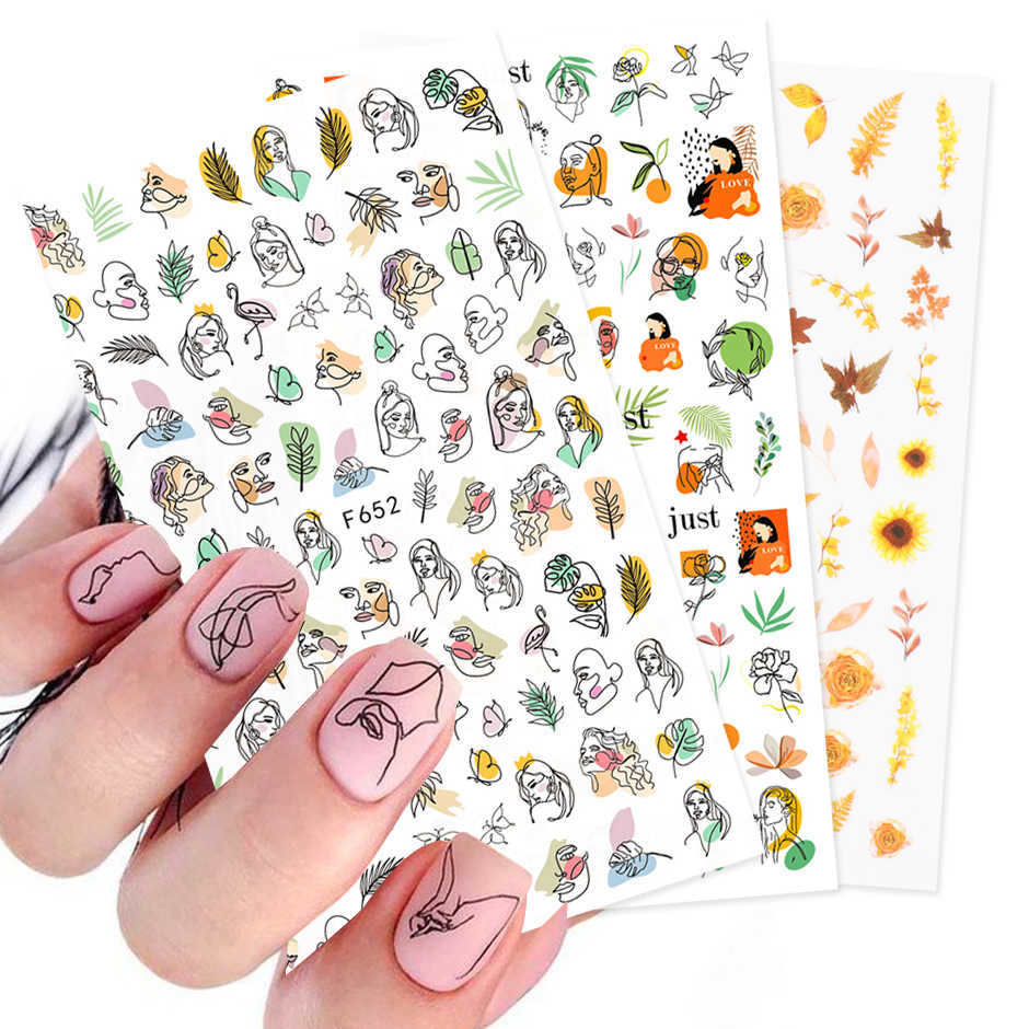 3D Stickers Voor Nagels Abstract Gezicht/Maple Leaf Ontwerp Herfst 2020 Lijm Gel Polish Slider Folie Manicure Accessoire CHF644-653