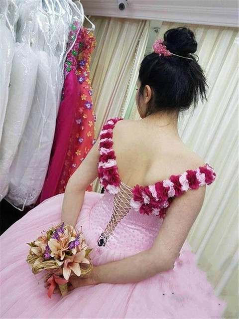Pink Tulle Ball Gown Quinceanera Dresses With 3D Handmade Flower Pearls Princess Sweet 16 Dresses vestidos de 15 anos Prom Dress 1