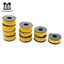 Frete grátis 10 rolos/lote 1.5/2.5/4/6/10mm fio quadrado cabo marcador manga pvc número 0 9 letras A Z