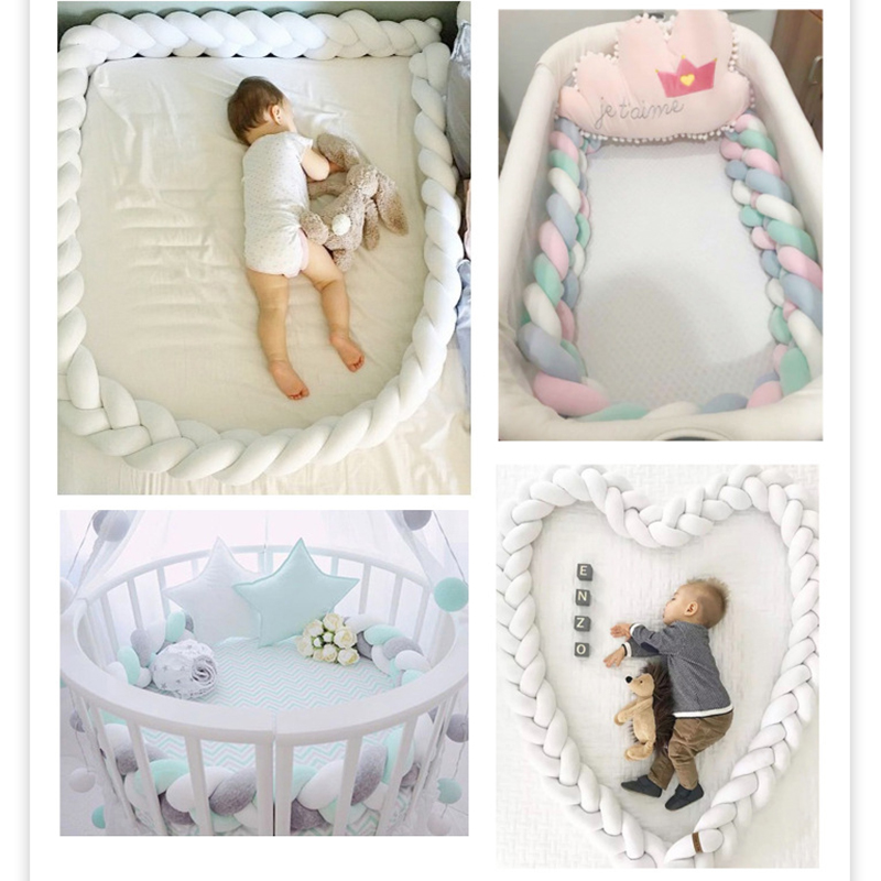 1M 3 Knot Soft Baby Bed Bumper Crib Pad Protection Bedding For Infant Cotton Colorful Comfort Pillow Bumpers For Baby Room Decor