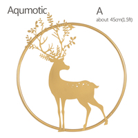 Aqumotic Large Golden Metal ELK Decor for Wall Decorations 45cm 3d Like Picture Antlers Home Decore Fine House Indoor