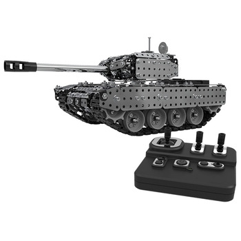 2.4G RC Tank DIY Assembly Set Stainless Steel Remote Control Model Toy Built-In 3.7V 300MAh Lithium Battery