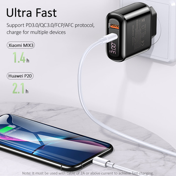 USAMS Quick Charge 3.0 USB Charger for iPhone LED Display Type-C PD QC 3.0 Fast Charger for Samsung Xiaomi Mobile Phone Charger 5