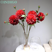 New Arrival Red Dahlia Pompon Daisy Sprays Free Shipping Home Decorative Flower Artificial Flowers Wedding Party Free Shipping  цена 2017