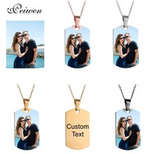 Military Army Shape Tags Necklace Personalized Nameplate Custom Name Photo Gold Chain Necklace For Women Men Customized Jewelry цены онлайн