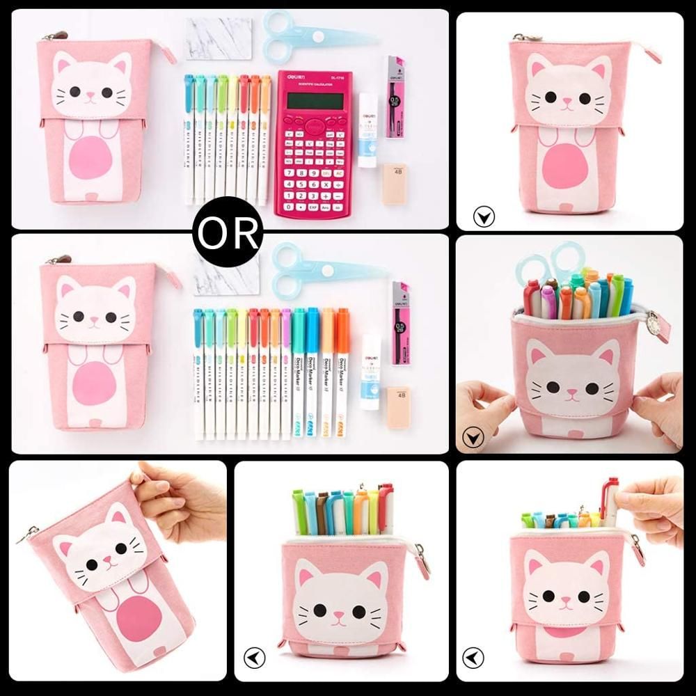 Angoo [Fun] Pen Pencil Bag Case, Cartoon Cute Cat Bear Sheep Canvas Fold Standing Holder Stationery Organizer Kids Gift A6445 5