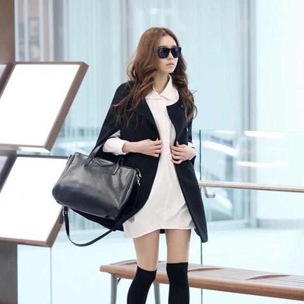Vrouwen Lady Cloak Poncho Coat Losse Mode Uitloper Medium Lengte Kleding Voor Winter JS25