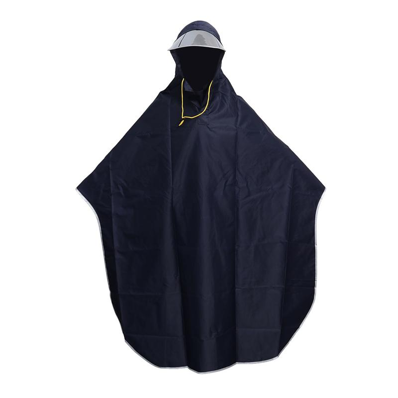 Mens Womens Cycling Bicycle Bike Raincoat Rain Cape Poncho Hooded Windproof Rain Coat Mobility Scooter Cover (Navy Blue)