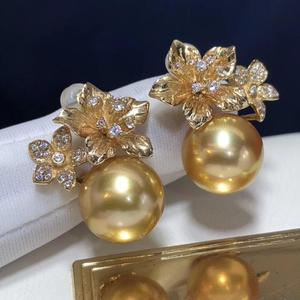 Image 2 - ファインジュエリー 1103 純粋な 14 18k ゴールド天然海ゴールデン真珠 11 10 ミリメートルスタッドピアスのための真珠のイヤリング