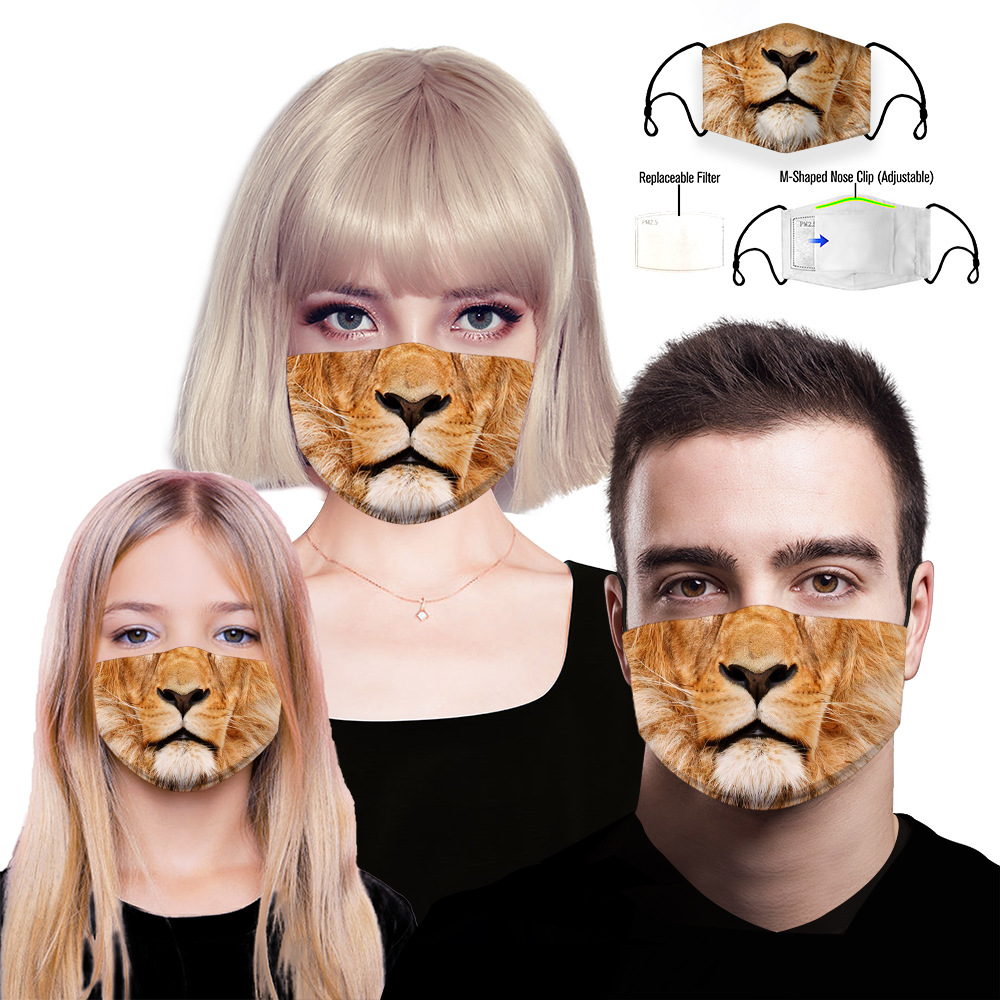 3D Tiger Printing Reusable Protective PM2.5 Filter Mouth Mask Anti Dust Face Mask Windproof Mouth-muffle Bacteria Proof Flu Mask
