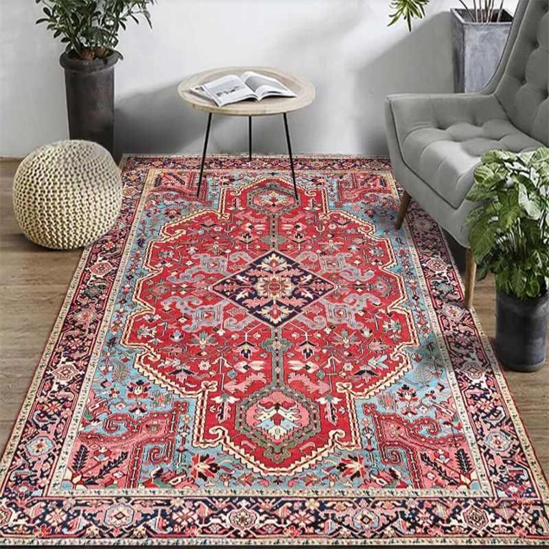 tapis persan vintage pour salon et chambre a coucher antiderapant absorbant style boheme marocain ethnique retro 160x230