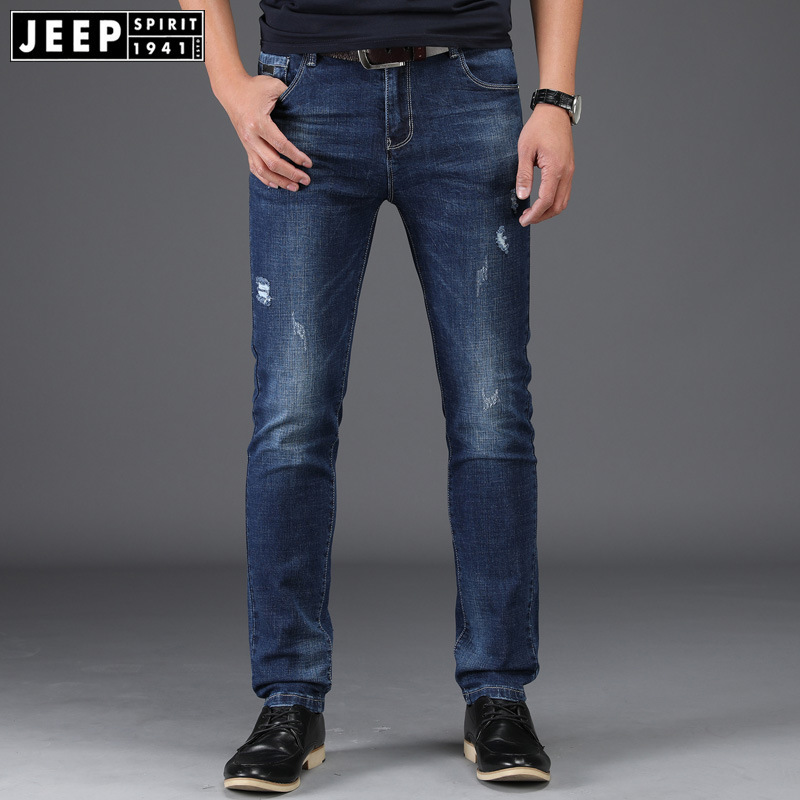 2018 New Style Winter Straight-Cut Men Business Jeans Casual Men's Loose-Fit Elasticity Pants Spring And Autumn Large Size