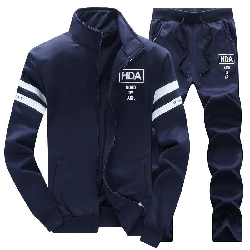 New Fashion Hoodie Sweatshirt Men Coat Fleece Hoodies Sweatshirts+Sweatpants Suit Autumn Winter Warm Printed Hooded Pullover