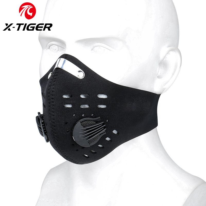 X-Tiger Protective Sports Cycling Face Mask PM2.5 Anti-Pollution Cycling Mask With KN95 Filters Activated Carbon Breathing Valve