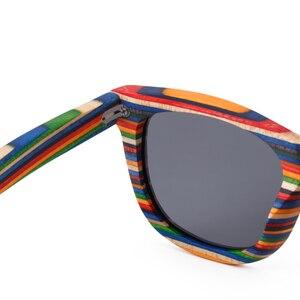 Image 4 - レトロ手作り色木製フレームサングラス偏女性男性多色サングラスビーチ抗uv眼鏡を駆動するための