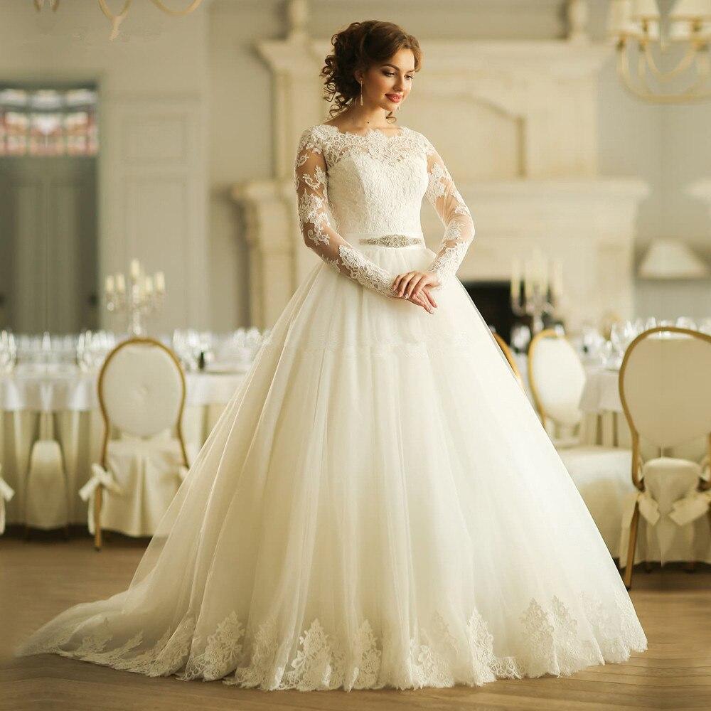 White Lace Long Sleeve Oriental Wedding Lace Up Back Plus Size Ball Gown Country Vestidos De Noivas Mother Of The Bride Dresses