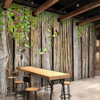 цена на Custom Photo Wallpaper 3D Green Vine Wood Grain Murals Living Room Restaurant Cafe Background Wall 3D Waterproof Wall Stickers