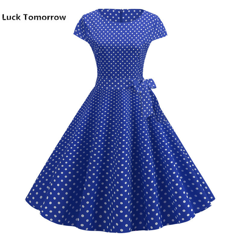 Summer Vintage Dress Women Polka Dot Elegant Short Sleeve A-line Midi Party Dress Sundress Plus Size Robe Rockabilly Vestidos