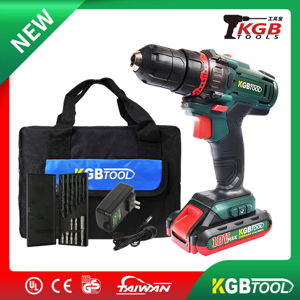 KGB 18V Li-Ion Hammer Drill Kit Electric Dill Cordless Impact Drill Wireless Screwdriver Drill Bit Holder For Wood Working