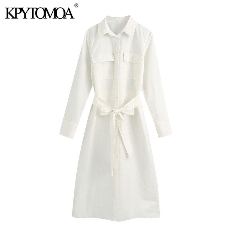 KPYTOMOA Women 2020 Chic Fashion With Belt Pockets Midi Shirt Dress Vintage Long Sleeve Button-up Female Dresses Vestidos