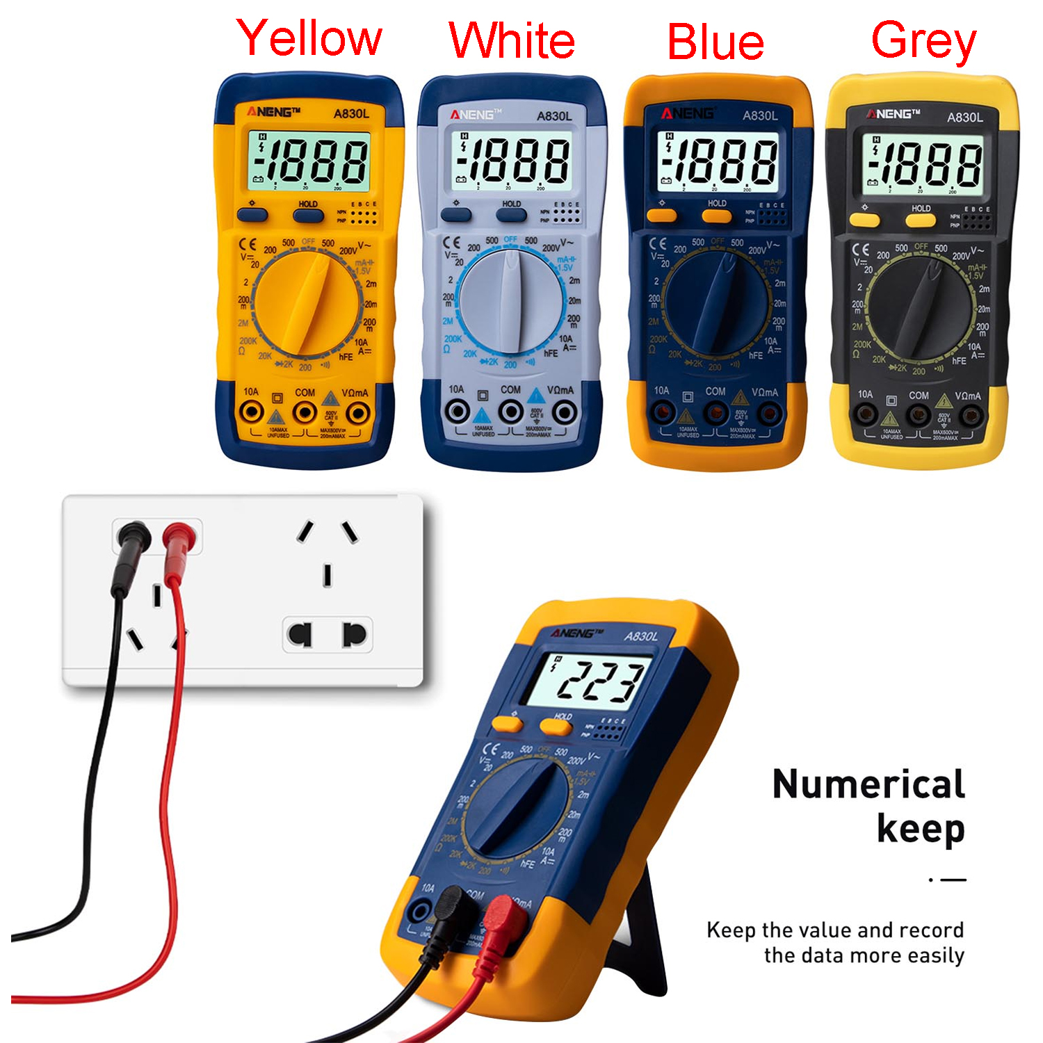 A830L Mini Pocket Hand-held Digital Multimeter Voltmeter Ammeter Ohmmeter Multimeter Volt AC DC Tester Meter