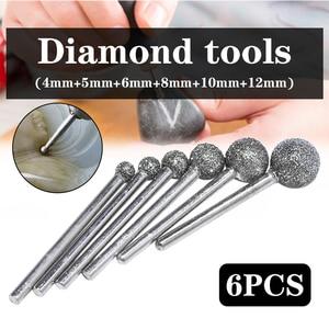 Image 2 - 6 sztuk/partia okrągłe diamentowe ściernice do Dremel narzędzia obrotowe narzędzia diamentowe do granitu diamentowe Burs Dremel narzędzia akcesoria