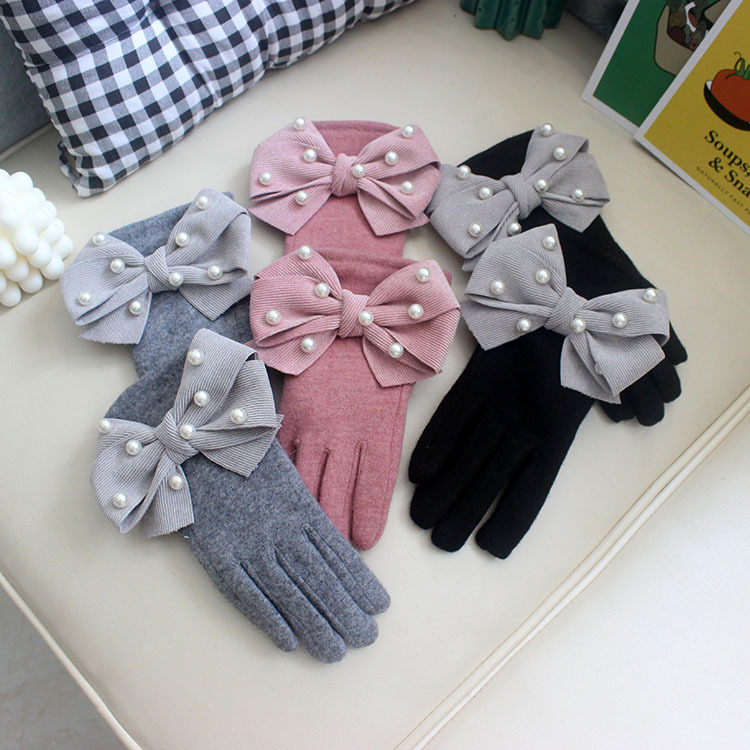 Women's Autumn Winter Thicken Warm Fleece Lining Pearl Beaded Big Bow Gloves Lady's Touchscreen Winter Driving Glove R1840