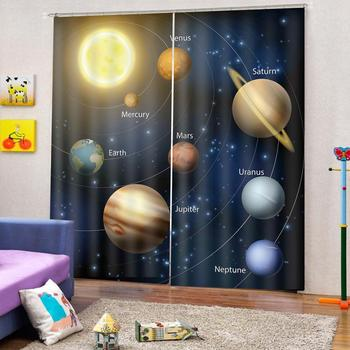 blue blackout curtains stars Luxury Blackout 3D Window Curtains For Living Room Bedroom Customized size