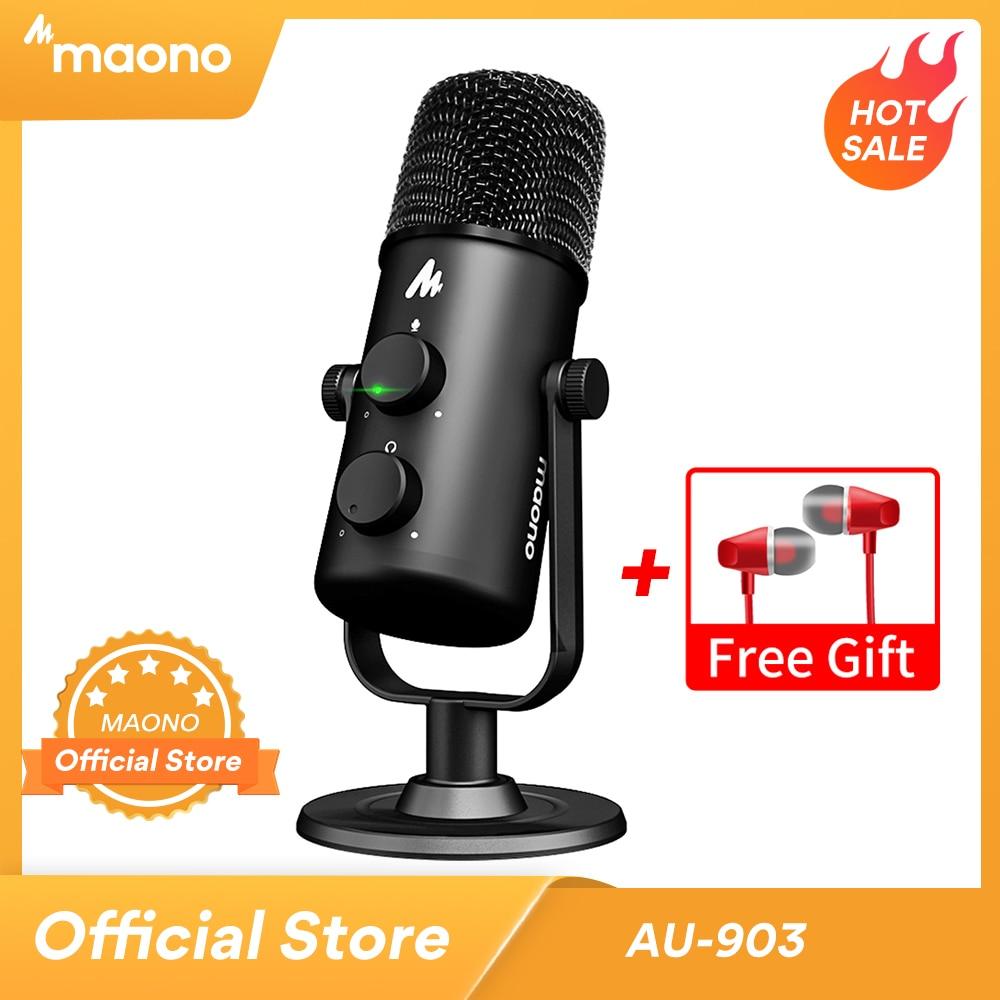 MAONO AU-903 Computer Microphone Podcast USB Condenser Mic Podcast USB Condenser Mic for YouTube Recording Podcast Gaming Skype 1