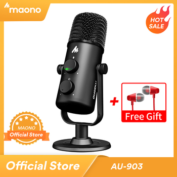 MAONO AU-903 Computer Microphone Podcast USB Condenser Mic Podcast USB Condenser Mic for YouTube Recording Podcast Gaming Skype 1