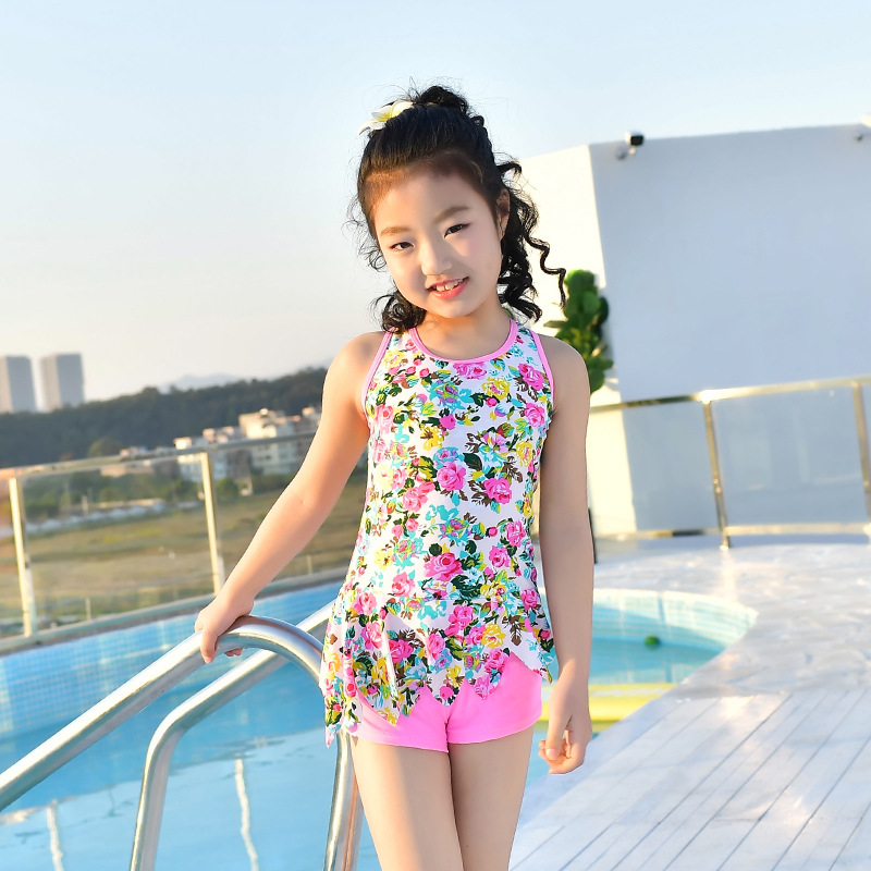 South Korea New Style Cute Girls Sports Bathing Suit Comfortable Boxers Split Type Small CHILDREN'S Big Boy Hot Springs CHILDREN