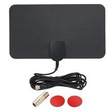 Indoor Digital TV Antenna HD Signal Flat Panel HDTV UHF FM Antenna Signal Receiver Black