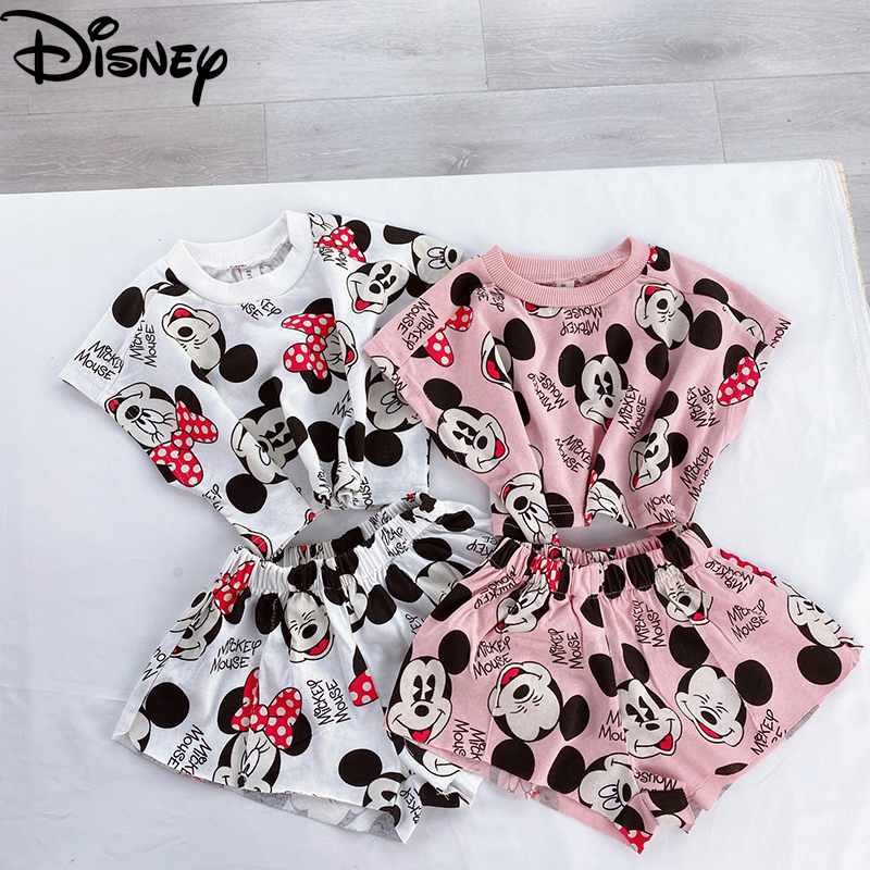 2020 New Summer Autumn Children Clothes Suits Disney Mickey Minnie Version Boys Girls Printed Top + Pants Kids Long Sleeve Dress