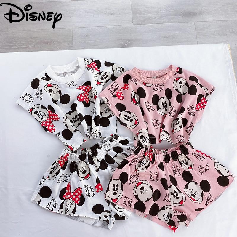 2020 New Summer Autumn Children Clothes Suits Disney Mickey Minnie Version Boys Girls Printed Top + Pants Kids Long Sleeve Dress