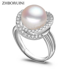 ZHBORUINI Fashion Ring Pearl Jewelry Inlay AAAA Zircon Natural Freshwater Pearl Big Rings 925 Sterling Silver Ring For Women(China)