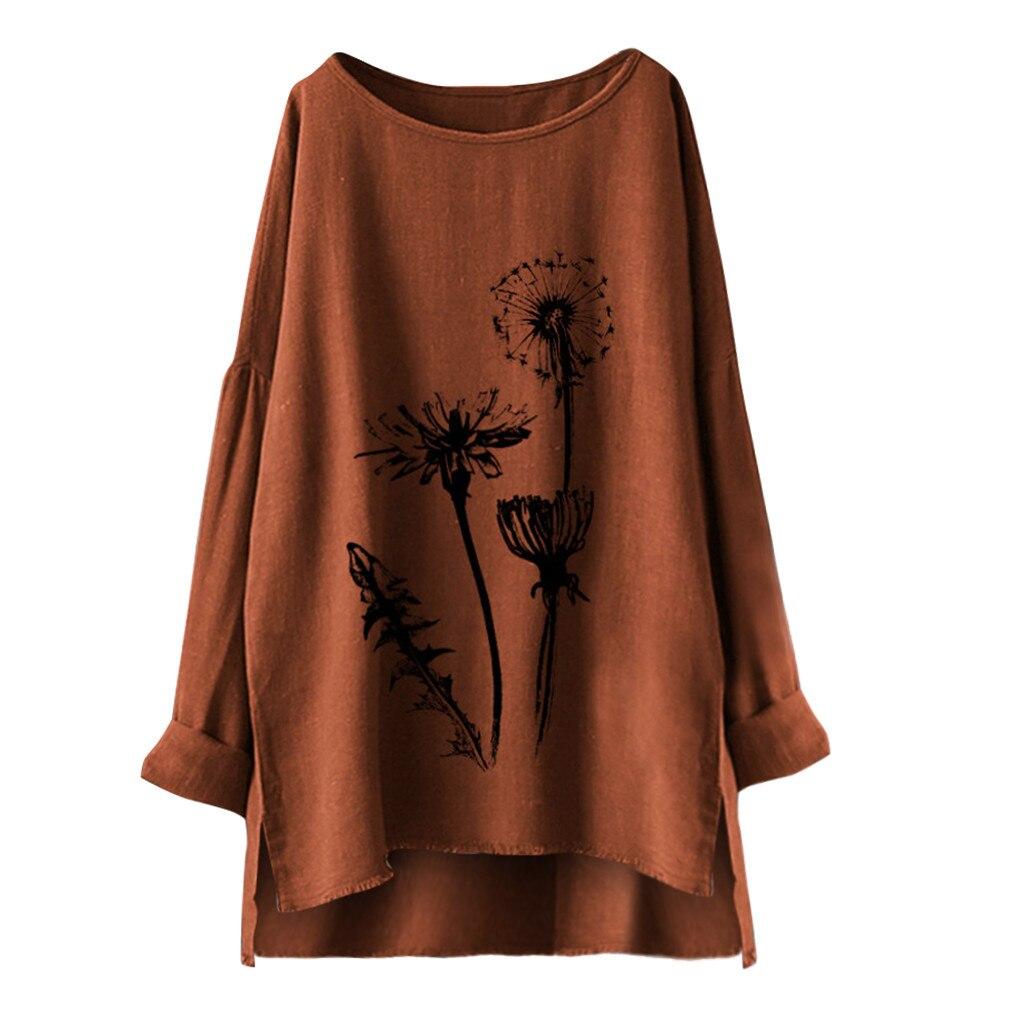 5XL Plus Size Women Tunic Shirt Women Floral Print Cotton Linen Blouse Autumn Long Sleeve Big Size Blouse Blusas Mujer De Moda