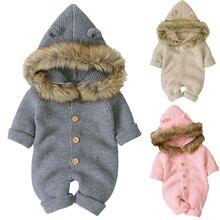 Newborn Baby Hooded Sweaters Romper Infant Kid Fur Collar Knit
