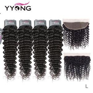 Image 1 - Tissage en lot Deep Wave brésilien Yyong, cheveux Remy, cheveux 3/4 naturels, avec Lace Frontal 13x4, peuvent être teints, en lot 100% naturel