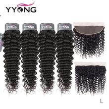 Yyong волосы 3/4 Бразильские глубокие волнистые пучки с фронтальной 100% Реми натуральные кудрявые пучки волос пряди с 13x4 кружевной фронтальной, могут быть окрашены