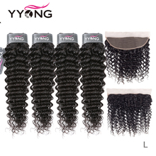 Yyong Hair 3/4 Brazilian Deep Wave Bundles With Frontal 100% Remy Human Hair Weave Bundles With 13x4 Lace Frontal Can Be Dyed