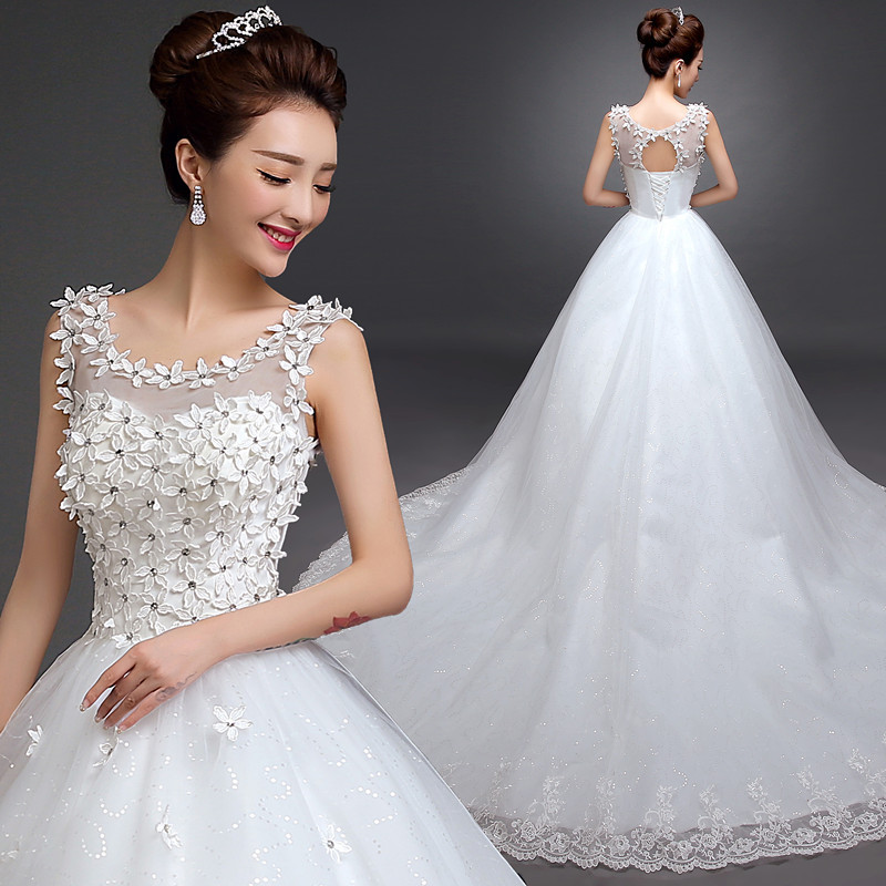 New Fashion Backless A Line Lace White Ivory Wedding Dresses 2019 Sleeveless scoop Bridal Wedding Gown Robe De Mariage