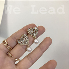 water drill heart pearl long earrings  stone drop jewelry rhinestone korean fashion bohemian