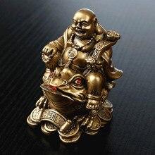 Sorte feng shui ornamento maitreya sapo estatueta dinheiro fortuna riqueza chinês sapo dourado casa escritório mesa decoração